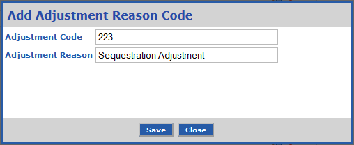 Customers can add an Adjustment Reason Code to be used when adjusting